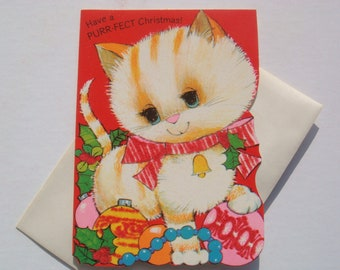Vintage Fuzzy, Flocked Holiday Christmas Greeting Card - Kitty Cat and Ornaments - Unused with Envelope - By Norcross - Kid's Christmas Card