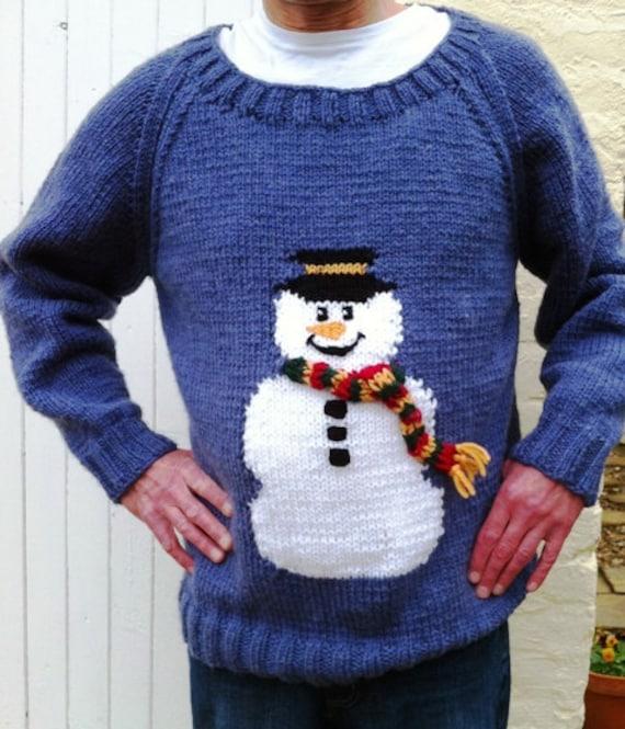 Chunky Jumper Knitting Patterns : Snowman jumper chunky knitting pattern by BernieBeeKnits on Etsy