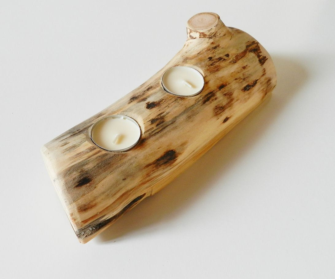 Handmade wooden candle holder natural wooden home by Wood candle holders