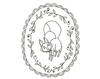 Fox Embroidery Pattern Printable Woodland Animal Digital Downloadable 0069