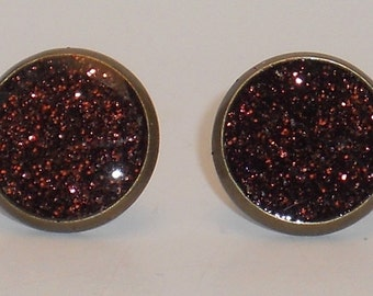 Bronzed Brown Glitter 10mm Post Earrings, Fake Plugs