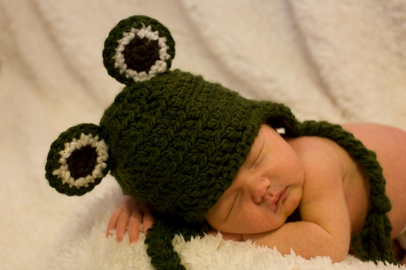 Easy Crochet Animal Hat Patterns : Pattern Frog Baby Hat Crochet Quick and Easy Beanie