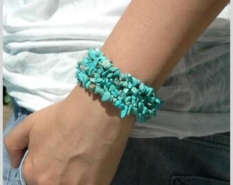 Mystic Turquoise Bracelet - Blue Turquoise Jewelry, Strechable Bracelet, Adjustable Bracelet, Gift under 20