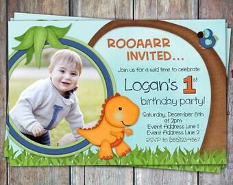 Lil' Dino First Birthday Invitation