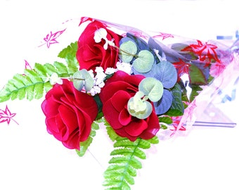 Nylon flower Red Rose Bouquet (3 Red Roses)