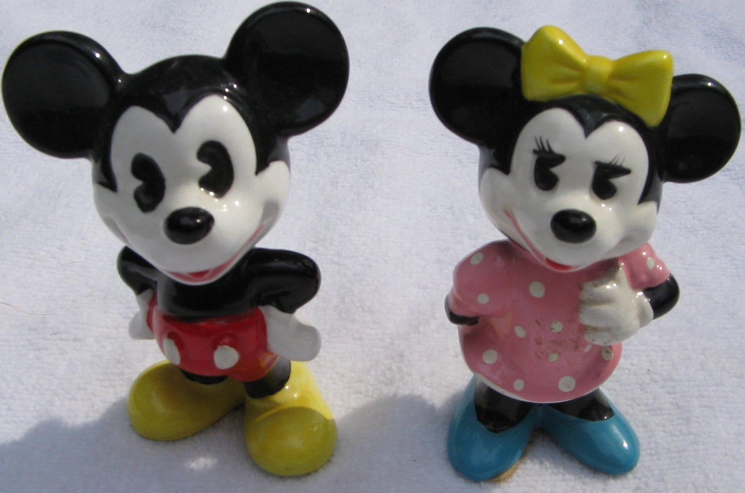 Vintage Disney Mickey And Minnie Mouse Ceramic Figurines