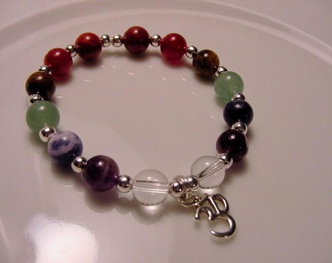 OM Chakra Bracelet - Spiritual Energy Flow 7 Chakra Gemstones, Beaded Bracelet, Chakra Balance, Energy Meridians