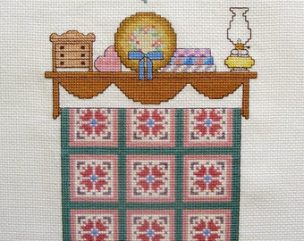 """Counted Cross Stitch """"Old Friends and Old Quilts"""" Embroidery Floss Needle Craft Handmade"""