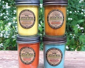 Crackling WOOD WICK  8 oz. Soy Candle - you pick the scent- Organic- Vegan Eco friendly Renewable and  GMO Free