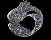 Pewter Northwest Coast Native Style Salmon Ornament