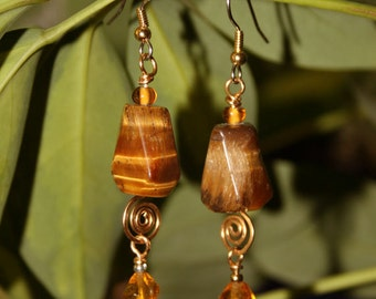 Tiger's Eye Linked Drop Earrings