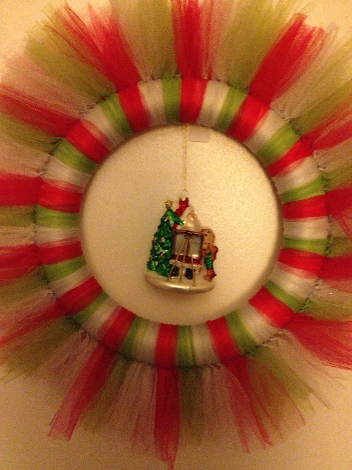 Silver, Red, and Green Christmas tulle wreath with glass Santa ornament