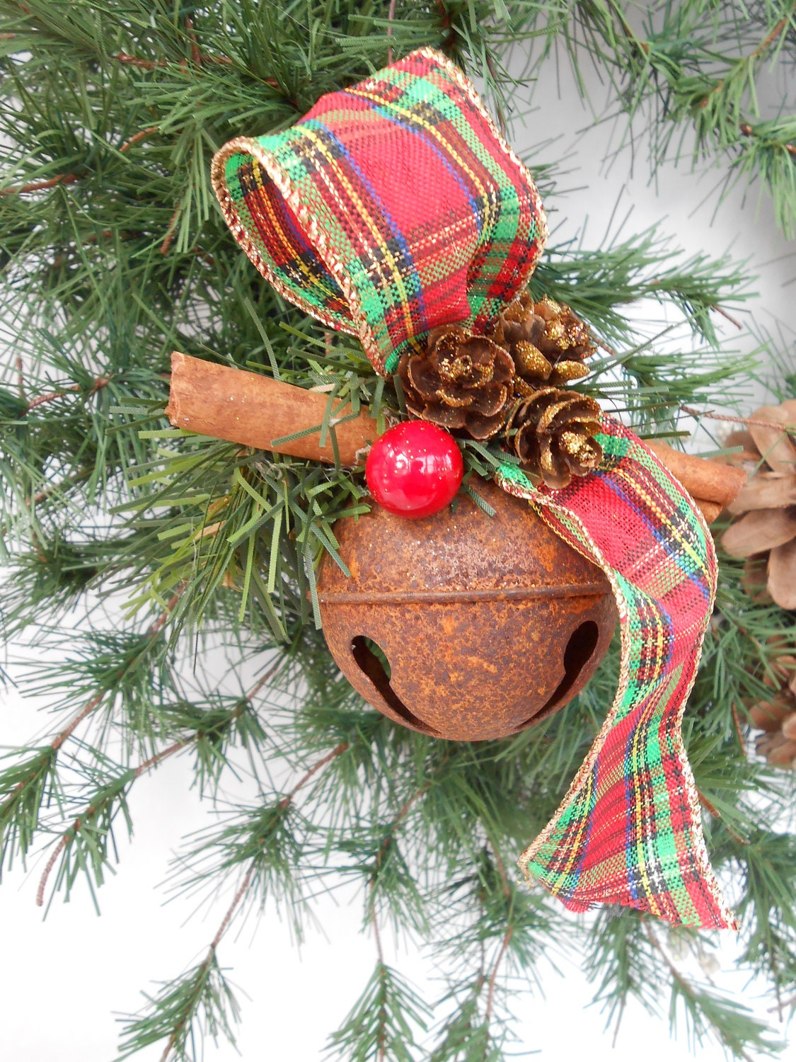 Country rustic jingle bell ornament w red plaid