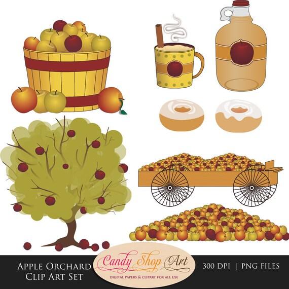 Apple Orchard Clip Art Set Apples Apple Cider Apple Barrel