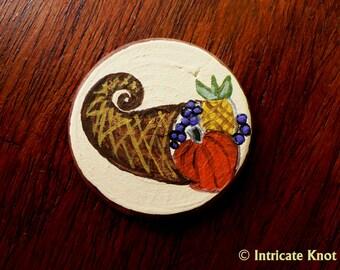 Harvest Cornucopia Miniature Art - Pocket Charm - OOAK