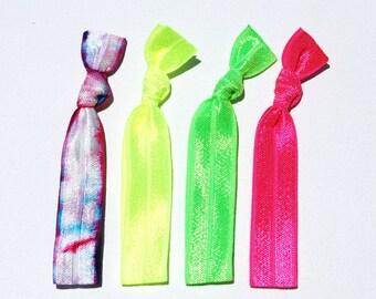 Neon Elastic Hair Ties, No Crease Ponytail Holders