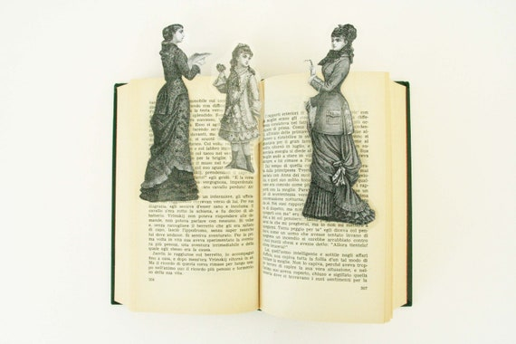 Set of 3 bookmark: reading lady, lady with glasses and girl with flower, images from old Italian newspaper dated 1880