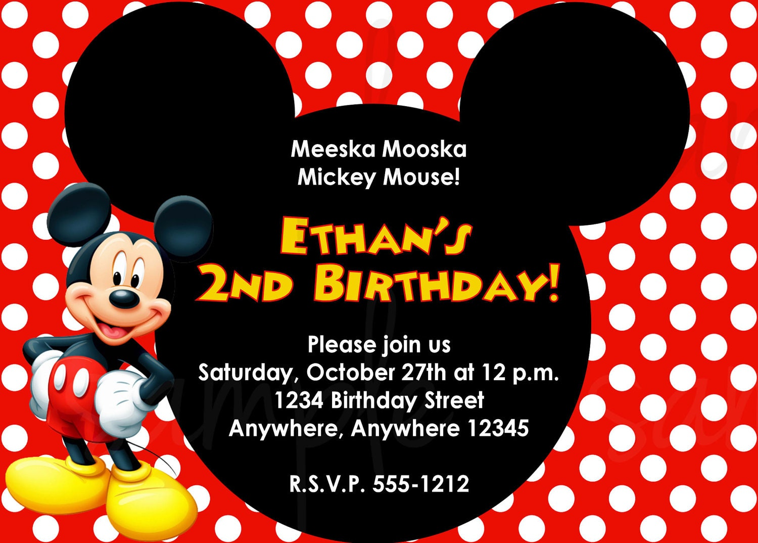 Vibrant image intended for free printable mickey mouse birthday invitations
