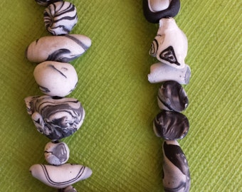 Polymer clay funky beaded bracelet