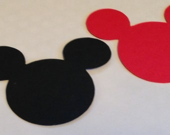 30 Mickey Mouse Head Silhouettes  Die Cut Black Yellow Red ANY COLOR Cutouts