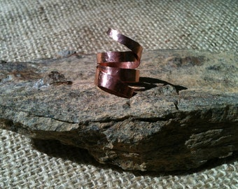 Hammered Copper Coil Abstract Ring Cuff
