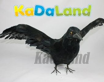 Black Real Size Flying Crow Horror Haunted Halloween Raven Bird Crows Figurine