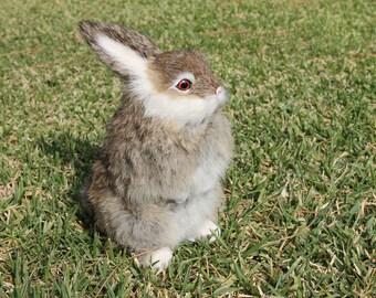 Gray Grey Snowy Rabbit Standing Easter Bunny Furry Animal Taxidermy Decor