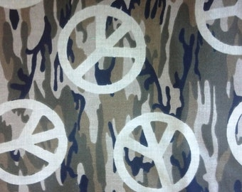1.5 Yard Cut of Quality, New Quilting Fabric, Camouflage Peace Symbols, Patty Reed Designs for Fabric Traditions, Great for Tote Bags, Quilt