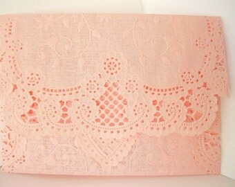 Pink Rose Lace Doily envelopes - wedding invitation liners pink doily envelopes lace envelopes Qty 10