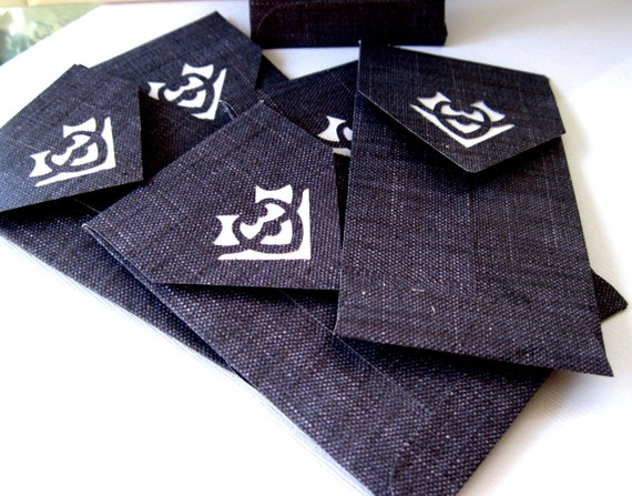 Handmade Luxe Mini Envelopes - Ornate-Indigo Denim and white- 4x2.5 in Qty 6 10x6cm supplies gifts thank you notes packaging