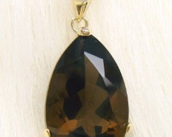 5.00ct Natural Smokey Quartz 10k Solid Yellow Gold Pendant