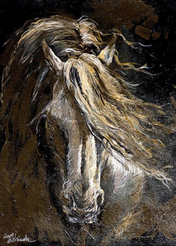 White horse acrylic painting