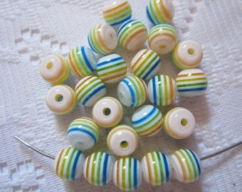 25  White Blue Green Yellow Orange Striped Round Acrylic Resin Beads  8mm