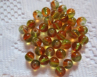 25  Autumn Orange & Lime Green Two Toned Round Glass Beads  6mm