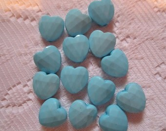14  Sky Blue Quilted Heart Acrylic Beads  12mm
