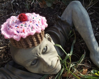 Crocheted Baby-Sized Cupcake Hat