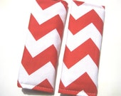 Cute Reversible Car Seat STRAP COVERS- Luggage Tag- Red White Chevron, Polka Dots