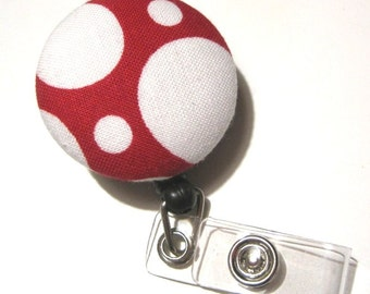 Retractable ID BADGE Reel Holder, Lanyard-Cute Red White Polka Dots