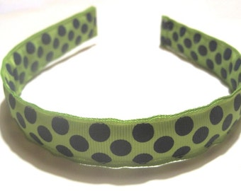 Preppy Headband- Cute Green Navy Blue Polka Dots Grosgrain Ribbon