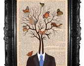 Tree and butterflies - ORIGINAL ARTWORK art print and HAND Painted