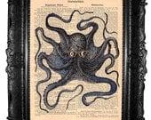 ORIGINAL ARTWORK  Blue octopus -Hand Painted Mixed Media Art Print  octopus print