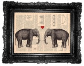 ORIGINAL ARTWORK Elephants Love - elephant print - HAND Painted- Mixed Media - print page book