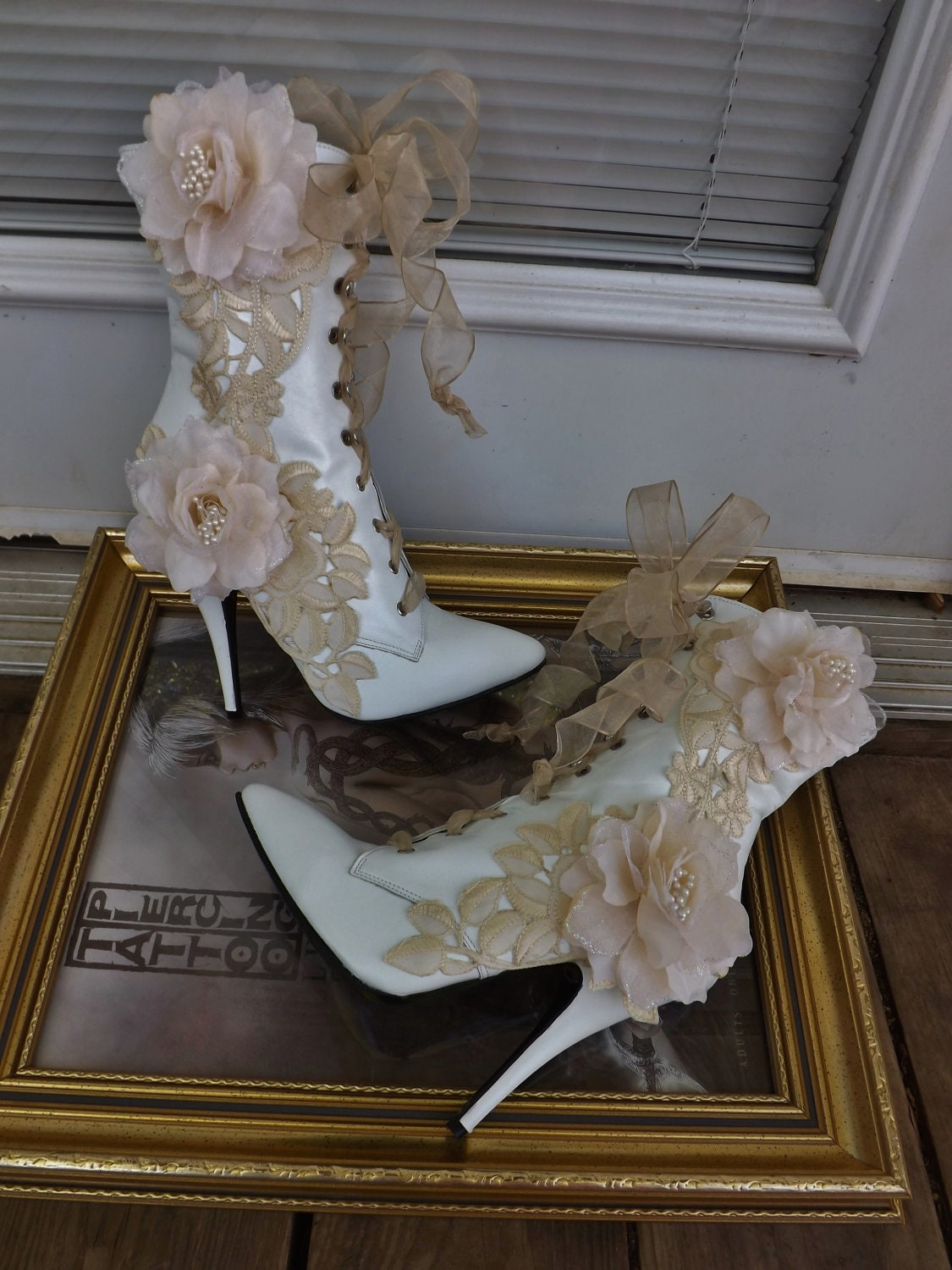 Victorian Wedding Boots Beige Roses Lace White Leather Lace Up