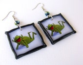 Kermit the Frog Muppet Show polymer clay Earrings - AngelasSweetGarden