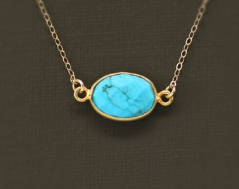 Oval Turquoise and Gold Necklace