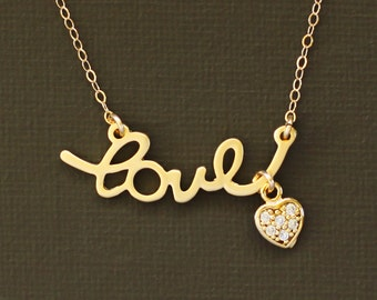 Gold Love Necklace with Tiny Pave Heart