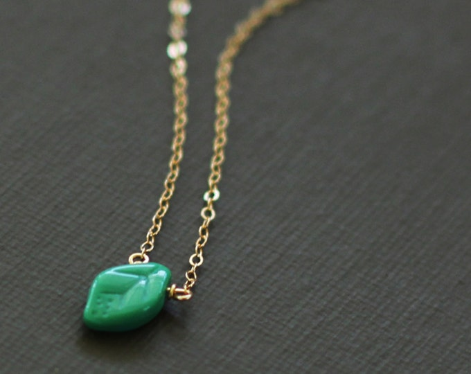 Tiny Turquoise Leaf Necklace - 14K Gold Filled Chain