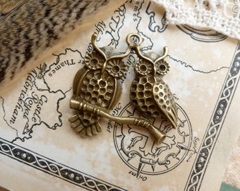 2x Twin Owl Pendant, Antique Brass Pendant C334