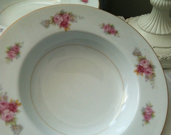 R.C. Bowls With Gold Trim And Dark and light Pink Roses Sold as Set of 6