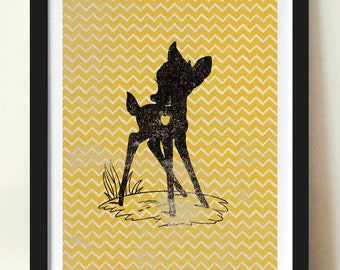 Bambi Inspired Silhouette on Chevron Background: 5X7 Art Print, With Heart Studios - Disney, Nursery, Gift, Poster, Vintage